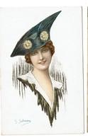 Illustrateur G. Salmony - Jeune Femme Au Chapeau - 2 Scans - Autres Illustrateurs
