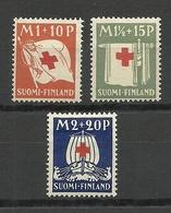 FINLAND FINNLAND 1939 Red Cross Roter Kreuz  Michel 158 - 160 * - Rotes Kreuz