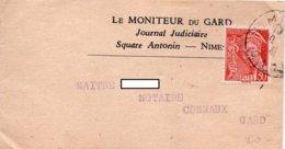 Mercure  YT 412 - Sur Bande Journaux - Entête - LE MONITEUR Du GARD  à Nimes - Journaux