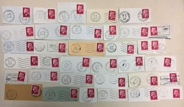 LOT DE 35 TIMBRES MARIANNE CHEFFER OBLITERATIONS PUBLICITAIRES A 0.40 ROUGES N° 1536 B - 1967-70 Marianna Di Cheffer