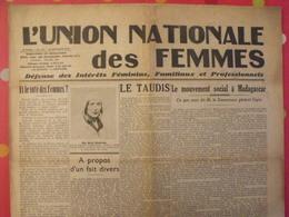 Journal L'Union Nationales Des Femmes. N° 97 Du 10 Octobre 1936. Vote Des Femmes, Mouvement Social à Madagascar - Newspapers