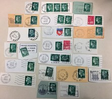 LOT DE 27 TIMBRES OBLITERATIONS PUBLICITAIRES MARIANNE CHEFFER A 0.30 VERTS N° 1536 A - 1967-70 Marianna Di Cheffer