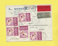 Lettre Recommandée Par Avion En Exprès Du Vietnam Pour Paris Le 04 09 1966 Saut à La Perche 5 Timbres - Vietnam