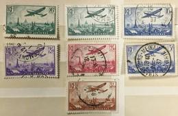 Timbre France Poste Aérienne YT 8 8a 9 10 11 12 13 (°) 1936 Avion Survolant Paris Caudron (côte 65 Euros) – 336 - 1927-1959 Afgestempeld