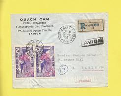 Lettre Recommandée Par Avion Du Vietnam Pour Paris Le 22 09 1956   Saîgon D'un Garage Automobiles Pièces Détachées - Vietnam