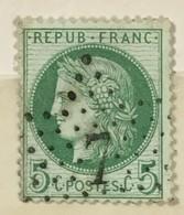 Timbre France YT 53 (°) 1871-75 France CERES III République 5 C Vert Jaune, étoile 7 (côte 10 Euros) – 404p - 1871-1875 Cérès