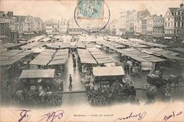 60 Beauvais Place Du Marché Cpa Carte Animée - Beauvais
