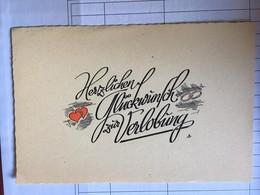 """Carte,"""" Herzlichen Gluckwunsch Zur Verlobung"""" (carte De Voeux Pour Les Fiançailles), Avec 2 Coeurs, Non écrites - Feiern & Feste"""