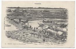 ASIE - VIETNAM - TONKIN - Hanoï - Bords Du Fleuve Rouge ( Animé , Personnes , Bateau ) - TTB Etat - Vietnam