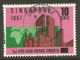 SINGAPORE. 1967. HOUSING. 10c USED - Singapur (1959-...)