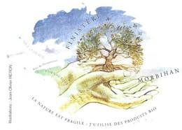 LA NATURE EST FRAGILE J UTILISE DES PRODUITS BIO , MORBIHAN - ARBRE, MAINS, PAP ENTIER POSTAL FLAMME 2008 - Milieubescherming & Klimaat