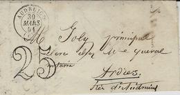 1851- Lettre D'AUDRUICQ ( Pas De Calais -cad T15 Taxe  25 D T - 1849-1876: Klassik