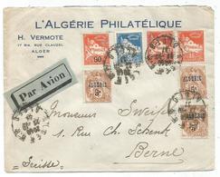 ALGERIE BLANC 5CX3+90CX2+80C+50C LETTRE AVION ALGER 22.10.1937 POUR SUISSE - 1900-29 Blanc
