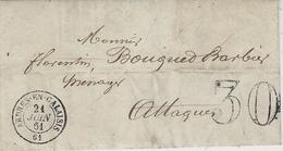 1861- Lettre De ARDRES-EN-CALAISIS  ( Pas De Calais )-cad T 15  Taxe 30 Dt  Pour Attaques - Poststempel (Briefe)