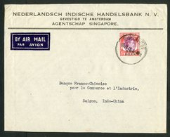 """BRITISH MILITARY ADMINISTRATION N°10 Overprint """"BMA/MALAYA"""" Cancel. """"SINGAPORE 7/7/48"""" On A Cover By Plane To Saigon - Malaya (British Military Administration)"""
