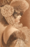 """Pretty Lady. Fantasy Hat"" Nice Vintage French Postcard - Mujeres"