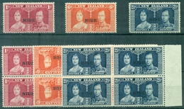 NIUE N° 59 / 61 N Xx En Blocs De 4 + 1 Unité Georges VI TB - Niue