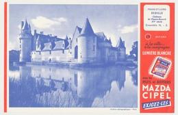 Buvard 20.7 X 13.5 La Pile MAZDA éclairage Portatif N° 19 Château Du Plessis-Bourré  Ecuille Maine Et Loire XV° Siècle - Elektrizität & Gas