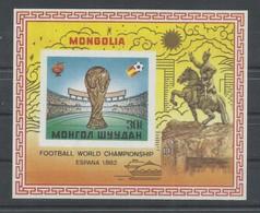 MONGOLIA HOJA BLOQUE CONMEMORATIVA  MUNDIAL DE FUTBOL ESPAÑA 1982    MNH  ** - Mongolia
