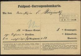 1870 Hannover Feldpost-Korrespondenzkarte An 10tes Armee-Corps - Servizio