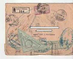 Belle Lettre Recommandée Taxée:Suisse->France/Agen Avec Contrôle Douaniers Bordeaux + Timbres Mixtes De Carnet ,1929 - Suiza