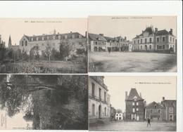 4 CPA:GUER (56) PLACE DU MARCHÉ MAIRIE,LE MOULIN,ÉCOLE LIBRE DES FILLES,PLACE DU MARCHÉ - France