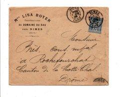 SAGE SUR LETTRE A EN TETE DE NIMES GARD 1900 - Marcofilia (sobres)