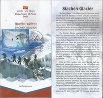 Siachen Glacier, Karakoram Range, Himalayas, Mountains, Stamped Broucher, First Day Cancelled, Inde, India - Géographie