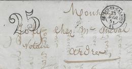 1851- Lettre De GUINES-EN-CALAISIS (  Pas De Calais ) Cad T15  Taxe 25 Dt - Poststempel (Briefe)