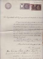 Registrado De La Propriedad Timbre Del Estado Con Póliza De Una  Pta. Y Sello Municipal De Madrid De 1 Pta - 1901 - Fiscales