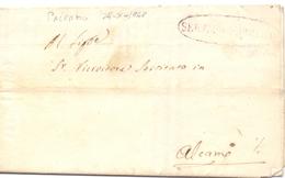 1848 Prefilatelica -SERVIZIO PUBBLICO - Con Stemma Della TRINACRIA - Da Palermo Per AlcamoI -franc - 1. ...-1850 Prefilatelia