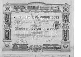 Cie FRANCAISE DES VOIES FERREES ECONOMIQUES -OBLIGATION DE 100 FRS - ANNEE 1903 - Chemin De Fer & Tramway