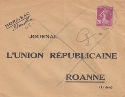 LETTRE. HORS-SAC JOURNAL L'UNION REPUBLICAINE ROANNE - 1921-1960: Moderne