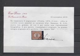 REGNO 1870 2 CENTESIMI SASSONE N. 4/I  ** MNH LUSSO CERTIFICATO DIENA - 1878-00 Humbert I.