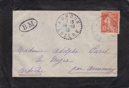 LETTRE. BOITE MOBILE DE AUROUX LOZERE - Poststempel (Briefe)
