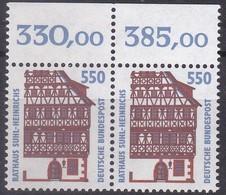 BRD,1994 Nr. 1746 **Sehenswürdigkeiten (XVII), Waagerechtes Paar  Mit Oberrand - Nuovi