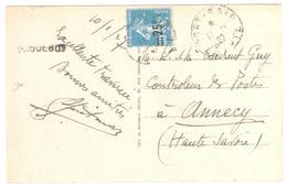 PORT SAID Egypte Carte Postale Griffe PAQUEBOT 25c/30c Semeuse Bleu Yv 217 En Mer 10/1/1927 Ob 11/1/1927 - Covers & Documents