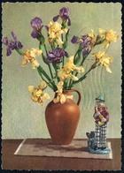 D0073 - Glückwunschkarte Geburtstag - Blumen Figur Porzellan - Compleanni