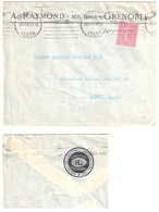 GRENOBLE Isère Lettre Entête RAYMOND Boutons Verso Logo 75c Semeuse Lignée Lilas Yv Ob Meca Krag 20 7 1930 - France