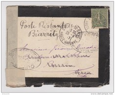 LETTRE COVER DEUIL 28 SEPTEMBRE 1917 POSTE RESTANTE BIARRITZ OUVERTE PAR L'AUTORITÉ MILITAIRE SEMEUSE 15 C - 2 Scans - - Oorlog 1914-18