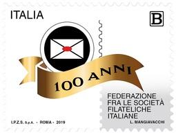 Italia Repubblica 2019 Federazione Fra Le Società Filateliche Italiane Euro 1,10 MNH** Integro - 6. 1946-.. República