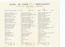 Menu Hotel De PARIS MOULINS 03000 - Menú