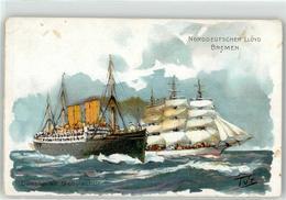 52941660 - Schiff Norddeutscher Lloyd Bremen Dampfer Mit Schulschiff - Paquebots