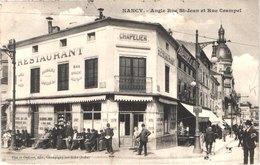 FR54 NANCY - Piat - Angle Rue Saint Jean Et Rue Crampel - Restaurant Chapelier Brasserie - Animée - Belle - Nancy