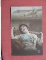 RPPC  Female  Military Airplane Romance   Ref 3754 - Militaria