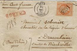 1863 - Petite Env. CHARGE V D 100 F D'ORAN / ALGERIE Affr. N°23 Oblit. G C 5051 Pour Drusenheim - Poststempel (Briefe)