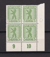 Berlin Und Brandenburg - 1945 - Michel Nr. 1 A Viererblock Ecke Mit 1 A PF XII - 25 Euro - Zone Soviétique