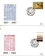 BELGIQUE. N°2271-2 De 1987 Sur 2 Enveloppes 1er Jour. Journaux Belges. - FDC