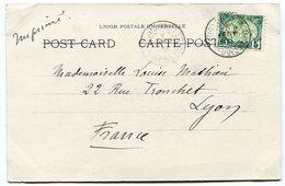 RC 14764 COTE DES SOMALIS 1906 - 5c MOSQUÉE OBL DJIBOUTI SUR CARTE POSTALE POUR LA FRANCE TB - Lettres & Documents