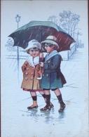 (2046) S. Ubalde - Twee Kinderen Onder De Paraplu - Chocolat Martougin - Autres Illustrateurs